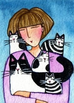 Crazy Cat Lady and KittensOriginal ACEO by SusanFayePetProjects, $20.00