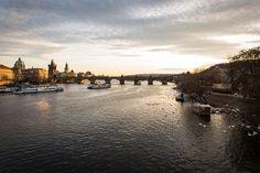 Vltava at dusk - Little of the gold on the Vltava river on a warm winter evening.