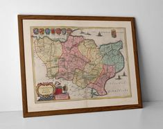 Antique Map of Kent, originally created by Willem Janszoon Blaeu, now available as a 'museum quality' poster print.  #kent #Ashford #Canterbury #Chatham #Dover #homedecor #Folkestone #travelposter #interiordesign #Gillingham #Gravesend #hahnemuhle #kent #kent #Maidstone #Margate #oldmap #Rochester