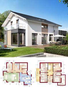 Einfamilienhaus Neubau modern mit Satteldach Architektur & Wintergarten Erker - Haus bauen Grundriss Fertighaus Evolution 152 V5 Bien Zenker Hausbau Ideen - HausbauDirekt.de