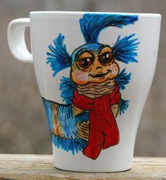 Hand Painted Coffee Mug, Labyrinth Inspired Blue Ello Worm. $15.00, via Etsy.