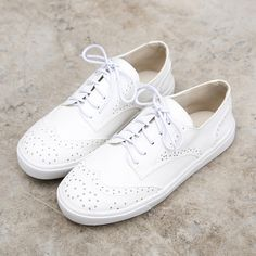 Cut-outs White Shoes For Women Casual Shoes Classic Brogues Oxford Shoes for Women Lace up White Shoes #CH85