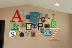 Alphabet Wall - great for playroom, nursery or any empty wall space., from http://www.thrive360living.com/