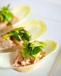 Shrimp Salad Endive Spears with Celery Leaf Salad / @DJ Foodie / DJFoodie.com