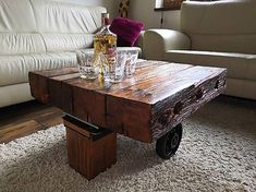 Table made from a repurposed industrial cart with massive wood top finish. Repurposed, Cart, Industrial, Coffee, Wood, Table, Vintage, Furniture, Home Decor