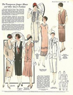 I'm Learning To Share!: Summer Frocks and Fashion for 1925 (magazine spread) 20s Fashion, Women's Summer Fashion, Art Deco Fashion, Fashion History, Retro Fashion, Vintage Fashion, Fashion Design, Victorian Fashion, Korean Fashion