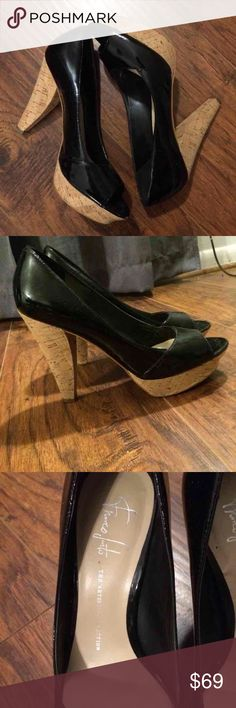Franco Sarto black patent leather pumps Cork bottom peep toe. Only worn a few times Franco Sarto Shoes Platforms