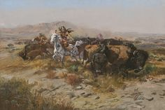 Name: The Buffalo Hunt (Wild Meat for Wild Men) | Artist: Charles M. Russell Media: Oil on canvas | Year(s): 1899