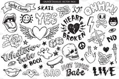 doodles graffiti grunge doodle tattoo sharpie vector tattoos drawing pack stickers easy illustrations drawings vectors wearing bagdes suitable decoration embroidery