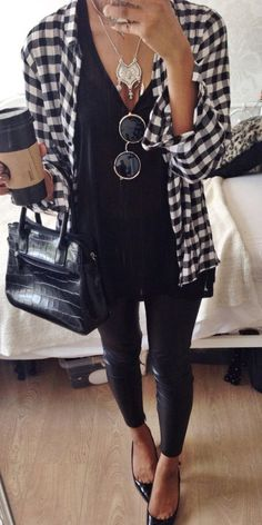plaid casual shirt + black top perfect outfit idea