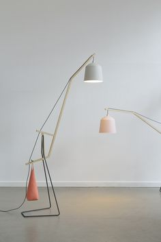 'A floor lamp', by Aust & Amelung, is based on the simple mechanism of a beam balance. A long beam cranes across the room and balances a lampshade on one side a...