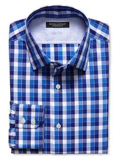 b567d21bf56 Banana Republic Slim Fit Non Iron Blue Multi Gingham Shirt (136045705041)  Gingham Shirt