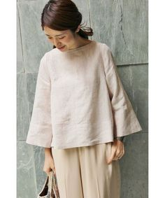 Linen bell-shaped bodice as well as sleeves | シャツ・ブラウス