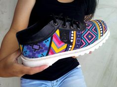 Ethno canvas shoes Ikat purple yellow by MarapulaiClothing on Etsy