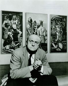Max Beckmann (1884-1950), Max Beckmann, at MoMA 1947, in front of his work, Departure, 1932/33-35, Max Beckmann
