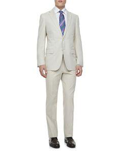 Sateen Two-Piece Suit, Tan by Ermenegildo Zegna at Neiman Marcus.