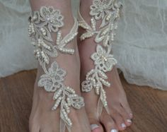 barefoot sandals iovry Beach wedding shoes bangle by UnionTouch