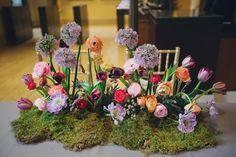 Moss and Allium Wedding Centerpieces