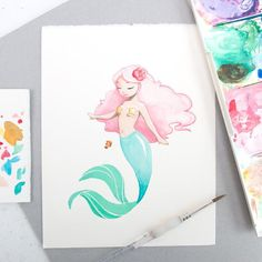Giclée print from an original watercolour illustrationPrinted on Photo Rag paper with Archival inks.Size: X inches)SignedShips flat in a bend proof envelope=============================================Copyright is retained by the artist Watercolor Mermaid, Mermaid Art, Watercolor Paintings, Mermaid Prints, Manga Mermaid, Vintage Mermaid, Mermaid Tails, Art Vampire, Vampire Knight