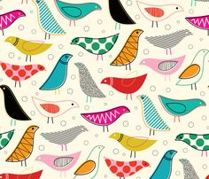 A Nod to the Eames House Bird fabric by katerhees on Spoonflower - custom fabric