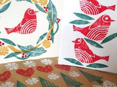relief printing with polystyrene sheet - how to make your own christmas cards, Artists and Illustrators Magazine