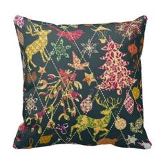 Christmas Quilt Throw Pillow Christmas Holiday Throw Pillows 25% Off Sitewide!  Friends and family sale   Use Code: FRIENDZNFAMZ   Last day 10/20