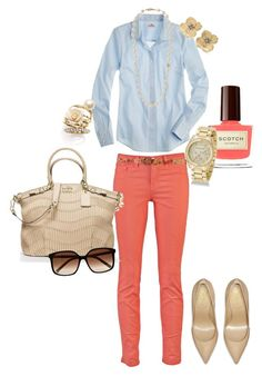 """""""Spring Look"""" by angela-reiss ❤ liked on Polyvore featuring J Brand, J.Crew, Stella & Dot, Yves Saint Laurent, Coach, Michael Kors, Ariella Collection, River Island and Forever 21"""