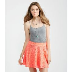 Aeropostale Lace Skater Skirt ($15) ❤ liked on Polyvore featuring skirts, radiant coral, layered lace skirt, floral skater skirt, floral knee length skirt, circle skirt and lacy skirt