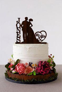 Mr & Mrs Cake Topper Wedding Cake Topper African by HomeWoodDeco