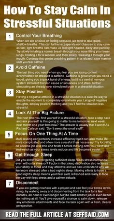 Most of the world's most successful people have the ability to stay calm in stressful situations. In fact, they probably couldn't have achieved their levels of success without learning to stay calm and relaxed under pressure. Here are seven tips to help you keep your cool in stressful situations http://seffsaid.com/how-to-stay-calm-in-stressful-situations/