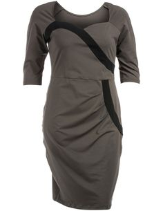 Cotton dress wirth heart-shaped neckline in Olive-Green / Black designed by Manon Baptister
