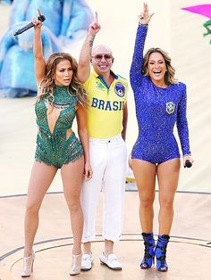 Jennifer Lopez marks the start of the World Cup soccer tournament on Thursday with Pitbull and Brazilian singer Claudia Leitte by her side during a performance at the games' opening ceremonies in São Paulo, Brazil.