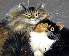 Jezebel and Juliette Frida Art, Image Chat, Cat Character, Rainbow Art, Cat Cards, Jolie Photo, Here Kitty Kitty, Cat Drawing, Christmas Cats