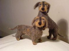 Needle felted wire-haired dachshounds by Feltangel, via Flickr