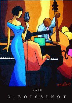 Affiche Jazz Robe bleue signée O.BOISSINOT
