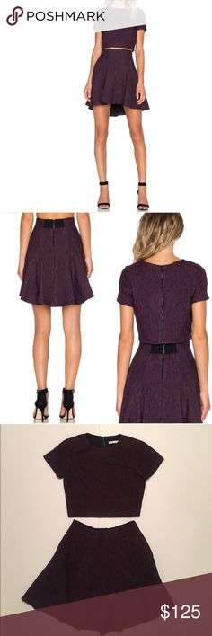 2 piece Alice + Olivia Set Alice + Olivia 2 piece set. Includes the Sarina Boxy Crop Top In Plum(see pic 6 for details on it) originally $198 and includes the Sibel Fit & Flare Skirt in Plum(see pic 7 for details on it) originally $256. Both are size women's 0. Both are in great condition. Would like to sell them as a set. Alice & Olivia Dresses