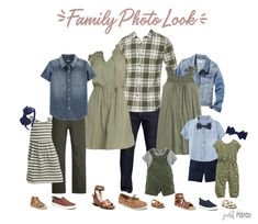 family photo outfits Are you looking for what to wear for family pictures? This olive, navy and chambray look is perfect! I've got you covered in this post with 4 different family