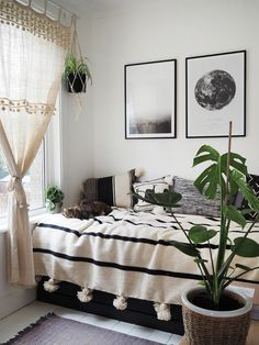 Small bedroom makeover 2019 boho monochrome style bedroom The post Small bedroom makeover 2019 appeared first on Curtains Diy. Bedroom Colors, Home Decor Bedroom, Modern Bedroom, Bedroom Ideas, Master Bedroom, Contemporary Bedroom, Bedroom Small, Bedroom Curtains, Master Suite