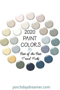 Here are the best of the best trend paint colors for 2020 from Benjamin Moore, S. Here are the best of the best trend paint colors for 2020 from Benjamin Moore, Sherwin-Williams, Behr, Valspar and PPG. 24 easy to use paint colors for your home! Paint Color Schemes, House Color Schemes, Paint Color Palettes, Interior Paint Colors, Paint Colors For Home, Paint Colors For Bedrooms, Paint Colors For Kitchen, Kelly Moore Paint Colors Interiors, Beach Paint Colors