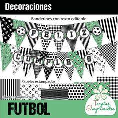 Decoraciones para imprimir para fiesta de futbol personasonalizada