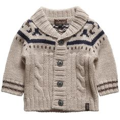 Boys Beige Wool-Blend Knitted Cardigan ($52) ❤ liked on Polyvore featuring baby, baby clothes, kids, baby boy and kids clothes