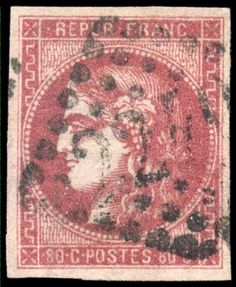 France, Michel 44. Bordeaux, 80 C. 2etat groseille, johannisfarben, on all sides four sides full to enormous margins extremely fine copy of the rare stamp, Maury 49IIf = 1600,- Euro