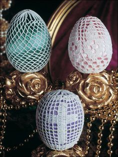 Crochet covered Easter eggs!