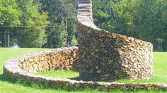 If you have the space, you can creatively shape your woodpile into a spiral like Ken Woodhead from Woodstock, Vermont did.