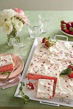 """Strawberries-and-Cream Sheet Cake - Strawberry Cake Recipes - Southernliving. Recipe: Strawberries-and-Cream Sheet Cake  Trust us: This simple and swoon-worthy sheet cake will be a keeper in your recipe box. File it under """"Springtime Crowd-pleaser."""""""