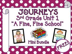 """Journeys 3rd Grade - This mini bundle contains a variety of activities from the Journeys Third Grade Unit 1 first story """"A Fine, Fine School"""", humorous fiction. This can be used to teach, re-teach, practice or assess the vocabulary and comprehension of this story. FREE!!"""