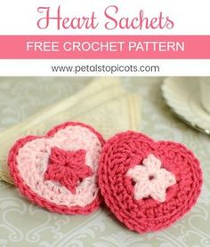 This crochet heart sachet pattern is very simple and quick to work up. They are perfect to give as a Valentine's treat or as a heartfelt gift any time of year. Just fill them with your favorite potpourri or dab with some essential oils. #petalstopicots