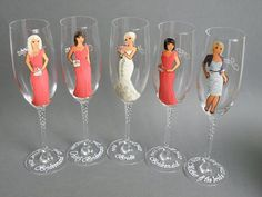 Bridal Party Wine or champagne Glasses Bridesmaids by pastinshs Bridesmaid Glasses, Bridesmaid Gifts, Bridesmaids, Wine Parties, Bridal Shower Party, Champagne Glasses, Party Gifts, Party Favors, Marie
