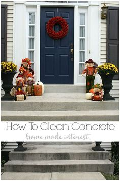 How to Clean Concrete Cleaning your concrete is an easy home improvement and makes such a difference in your curb appeal. We show you how simple it is to DIY with this tutorial on how to clean concrete. Diy Cleaning Products, Cleaning Hacks, Cleaning Solutions, Deck Cleaning, Spring Cleaning, Concrete Cleaner, Clean Concrete, Diy Carpet Cleaner, Easy Projects