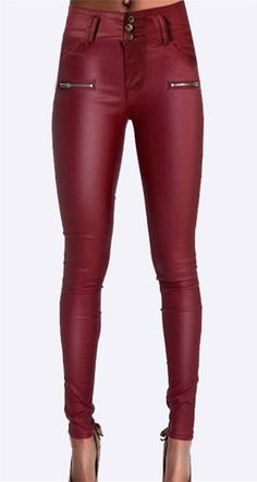 1b00881a4c586 Plus size high waisted european fashion leather skinny jeans wine red pu  tight pencil jeans sculpt